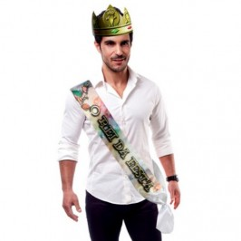 """PARTY BAND AND CROWN """"THE KING OF THE PARTY"""" IN PORTUGUESE"""