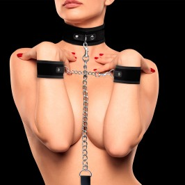 OUCH! VELCRO COLLAR WITH SEPARATE CUFFS BLACK