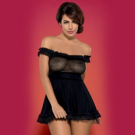 OBSESSIVE FLORESITA CHEMISE AND THONG BLACK