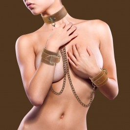 OUCH! LEATHER COLLAR WITH HANDCUFFS PREMIUM BROWN