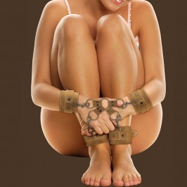 OUCH! LEATHER HAND AND LEG CUFFS PREMIUM BROWN