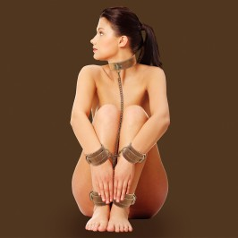 OUCH! LEATHER COLLAR WITH HAND AND ANKLE CUFFS PREMIUM BROWN