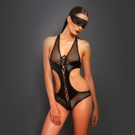 KINK FISHNET BODY WITH BLINDFOLD BLACK