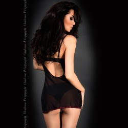BABYDOLL AND THONG CR-4010 BLACK AND RED