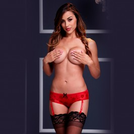 CROTCHLESS SHORTS WITH GARTERS 3122 BACI RED
