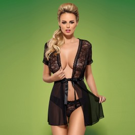 OBSESSIVE SWANITA ROBE AND PANTY  BLACK