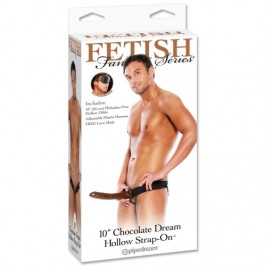 "FETISH FANTASY SERIES 10"" CHOCOLATE DREAM HOLLOW STRAP-ON"