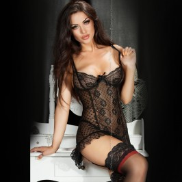 BABYDOLL AND THONG CR-3505 BLACK