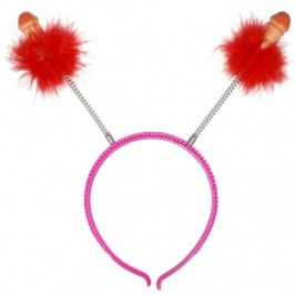 HAIRBAND DECORATED WITH RED FEATHERS AND PENIS