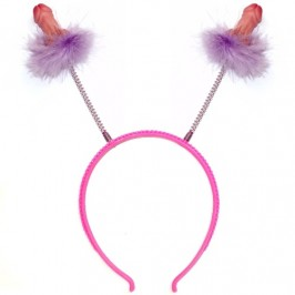 HAIRBAND DECORATED WITH LILAC FEATHERS AND PENIS